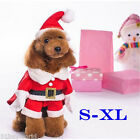 Pet Dog Christmas Costumes Fancy Dress Puppy Cat Xmas Santa Claus Outfit Clothes