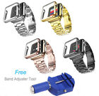 For Apple Watch 38/42 Stainless Steel Strap Buckle Watch Band+Adapter+Case Cover