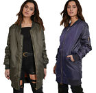 Ladies Long Bomber Coat MA1 Jacket Womens Urban Classic Padded Winter Jackets