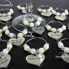 Personalised Wine Glass Charms Heart Weddings Favours Special Occasions Supplies