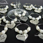Personalised Wine Glass Charms Love Heart Special Occasions Wedding Favours