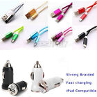 Braided Charger Data Sync Cable + Car Adapter For Android Iphone5 5s 5c 6 6 Plus