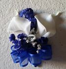 Ivory Royal Blue Babys Breath Calla Lily Corsage