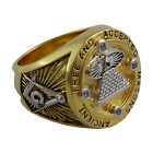 Masonic Men Ring FreemasonryAll Seeing Eye 18K Yellow Gold Pld AAA stones New