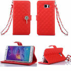 Bling Crystal Leather Wallet Case Flip Cover w/Strap For Samsung Galaxy Phone