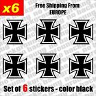 Set of 6 - Iron Cross Vinyl Decal Sticker Aufkleber Die-Cut Car Laptop Game