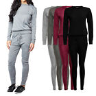 Womens Ladies Melange Loungewear Set Sweatshirt Joggers Tracksuit Pants UK 8-14
