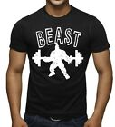 Men's Beast Black T Shirt US USA Workout Muscle Gym Training Fitness Tee image