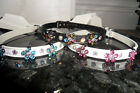 CRYSTAL FLOWER DOG PUPPY CAT KITTEN COLLAR~ PINK BLUE BLACK SMALL OR MEDIUM
