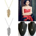Fashion Shiny Crystal Feather Leaf Pendant Gold Silver Necklace Chain Women Gift