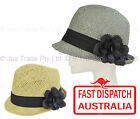 Women Ladies 20s Flapper Party Sports Faux Straw Sun Fedora Trilby Cloche hat