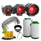 "4"" 6"" 8"" Hydroponics Grow Light Grow Tent Ventilation Fan Filter Duct System Kit"