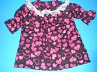 CLOTHES FOR BITTY BABY/AMERICAN GIRL  PINK & BLACK  VALENTINE  HEART NIGHTGOWN