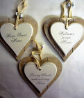 Double Layer Solid Wood Hanging Shabby Chic Love Heart with Bells Sweet Home