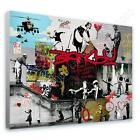 COTTON CANVAS  Banksy unique Collage girl balloon lot flower cave photos decor