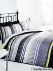 Rapport Cambridge Black/Grey/Green/White Striped Reversible Duvet Set S/D/K