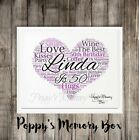 Heart Word Art Personalised Christmas Keepsake Gift ANY OCCASION / COLOUR