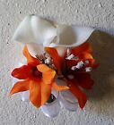 Ivory Real Touch Calla Lily Orange Orchid Corsage or Boutonniere