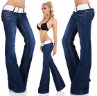 Sexy New Women's Navy Blue Bootcut Flare Cut Stretchy Jeans Trousers S 613