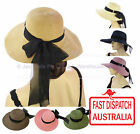 Women Ladies Fashion Sun UV Protection Hat Summer Wide Brim Floppy Visor Ribbon