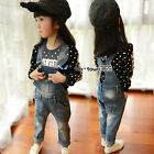 2016 Spring Baby Child Kids Girl Blue Denim Buckle Overalls Jeans Trousers 3-8Y