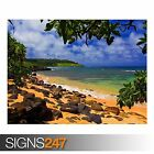 BEACH SHADE HAWAII (3281) Beach Poster - Photo Poster Print Art A0 A1 A2 A3 A4