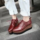 Womens Stylish Rivet Studded Wedge Platform Lace Up Pumps Loafers Shoes Casual