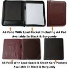 A4 Conference Folder Folio Case Pu Leather Ipad Tablet Holder Pad Organiser