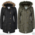 NEW KIDS GIRLS HOODED FUR QUILTED PARKA PADDED MILTARY SCHOOL JACKET COAT 7/13