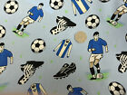 100% Cotton Fabric Premier Footballs Pale Blue