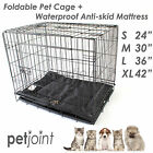 """24"""" 30"""" 36"""" 42"""" Puppy Dog Cat Cage Kennel Portable House +Black Pet Bed Mattress"""