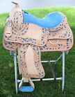"""SALE! 15"""" 16"""" Western Leather Show Saddle Set - Natural Leather w/ Blue Accents"""
