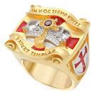 Knights Templar Masonic Ring 18K Yellow Gold Plated Unique Design New
