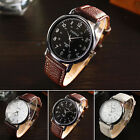 2016 New Fashion Luxury Faux Leather Men Watch Quartz Analog Wrist Watches Cheap
