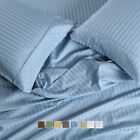 """650 Thread Count Striped Bed Sheets Set Cotton Blend 15"""" Deep Pockets Sheets image"""