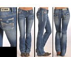 Rock & Roll Women's Multi-Stitched Stripe Embroidered Low Rise Jean W0-5611