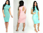 Sexy Open Back Cap sleeve Slim Midi Dress Bodycon Bandage Party Cocktail Evening