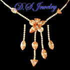 Champagne & Clear Swarovski Cystal Rhinestones Cluster Necklace & Earrings Set