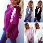 Plus Size Women Loose Casual Long Sleeve Sexy Shirt Pullover Tops Blouse Jumper