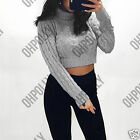 Womens Cable Knit Pattern Crop Jumper with Turtle Neck & Long Sleeves