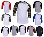 Dream USA Men's Casual 3/4 Sleeve Baseball Tshirt Raglan Jersey Shirt image