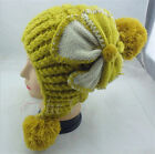 New Warm Winter Women Lady Multicolor Flower Knit Ski Beanie Ball Hat Cap 34