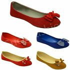 NEW WOMENS BALLERINAS LADIES DOLLY FLAT BOW BALLET PUMPS WORK SHOES SIZE UK 4-9