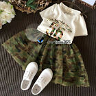 Summer Baby Girl Child Kids 56 T-shirt+Camouflage Tutu Chiffon Dress Sets 2-7Y