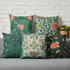 """Vintage Green Chinese Flowers Floral Linen Pillow Case Cushion Cover 18""""x18"""""""