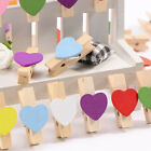 35mm Mini Heart Wooden Clothes Peg Shabby Chic Vintage Craft Wedding & Party