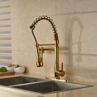 "Gold Polished Pull Out Spring Kitchen Sink Tap Swivel Spout Mixer Tap 8"" Plate"