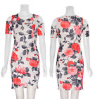 Floral Ladies Girl NEW Cocktail Cold Cut Out Shoulder Bodycon Midi Stretch Dress