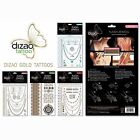 Dizao Style Flash Jewels Gold Silver Metallic Temporary Tattoos
