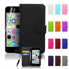 Premium PU Leather Wallet Flip Card Case Cover For iPhone SE 2016 + Screen Guard